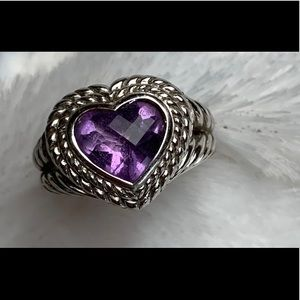 Judith Ripka Amethyst Heart & 925 Sterling Ring-7